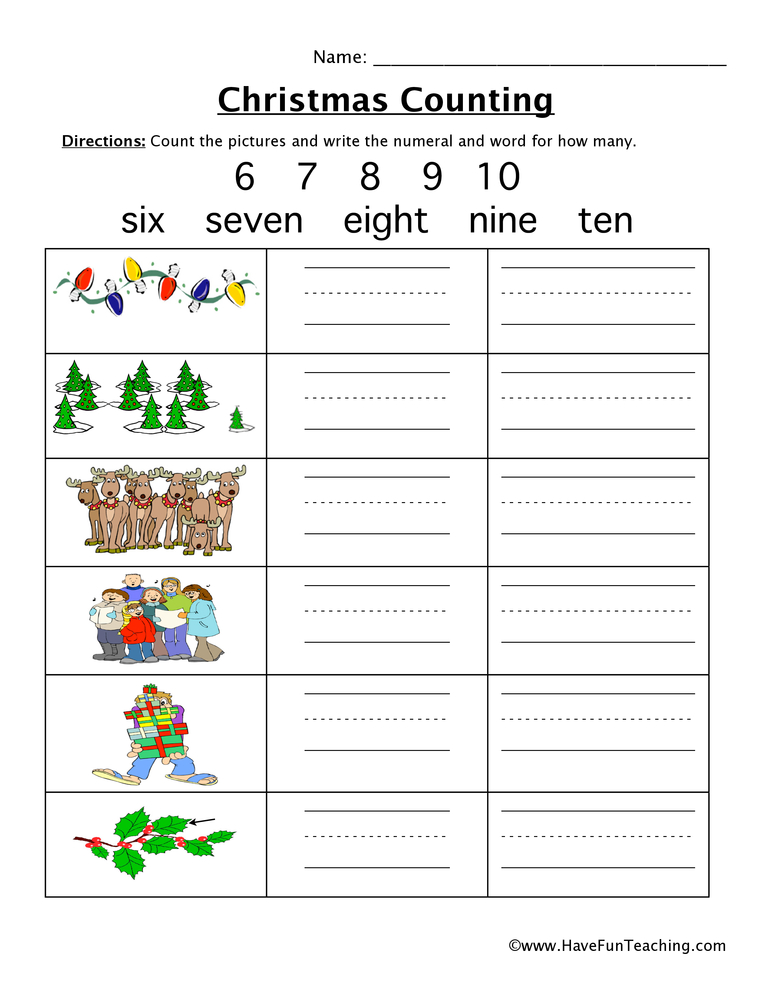 Christmas Counting 6 to 10 Worksheet