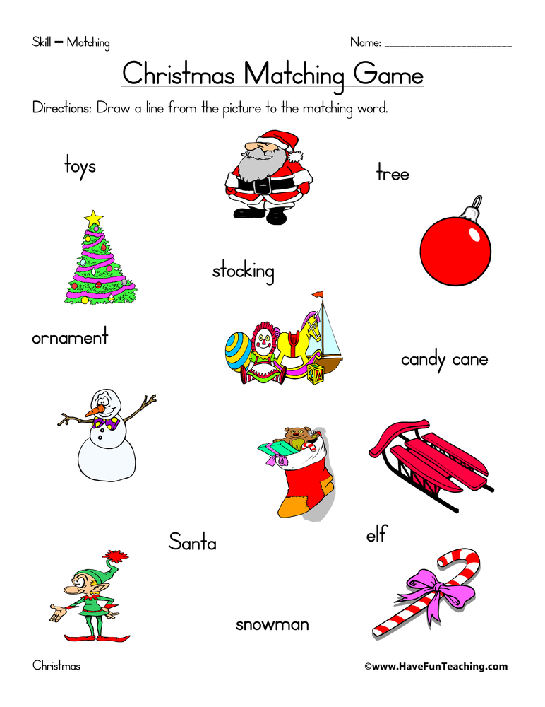 christmas-matching-worksheet