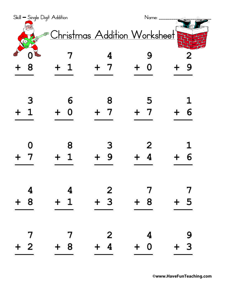 math worksheet : christmas single digit addition worksheet  have fun teaching : Addition Worksheets Single Digit