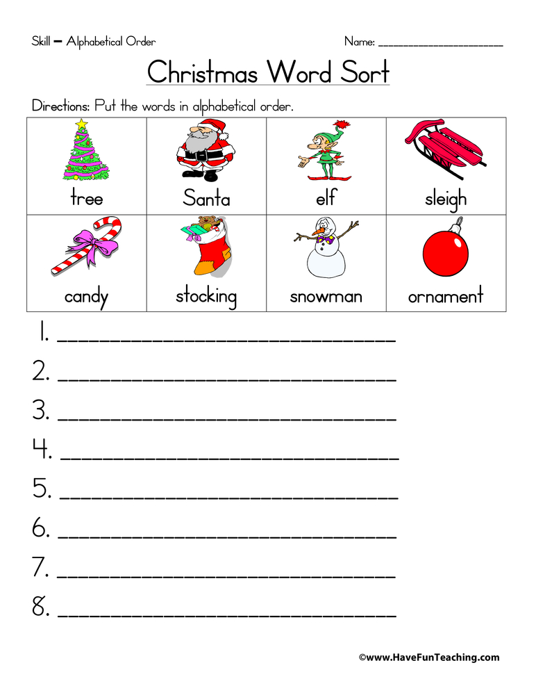 ... 2013 in Alphabetical Order Worksheets , Christmas Worksheets