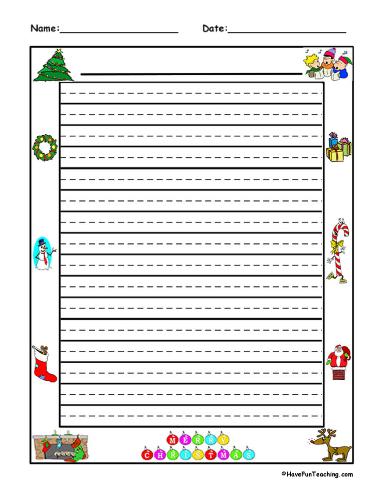 lined christmas writing paper