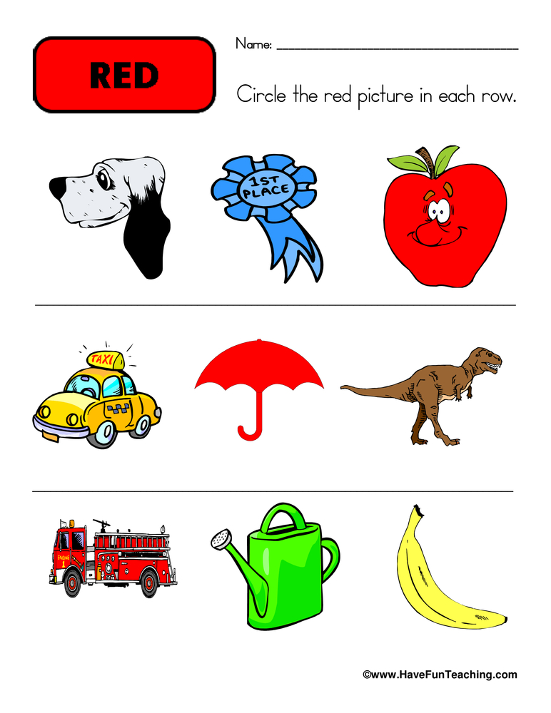 Color red worksheets pdf