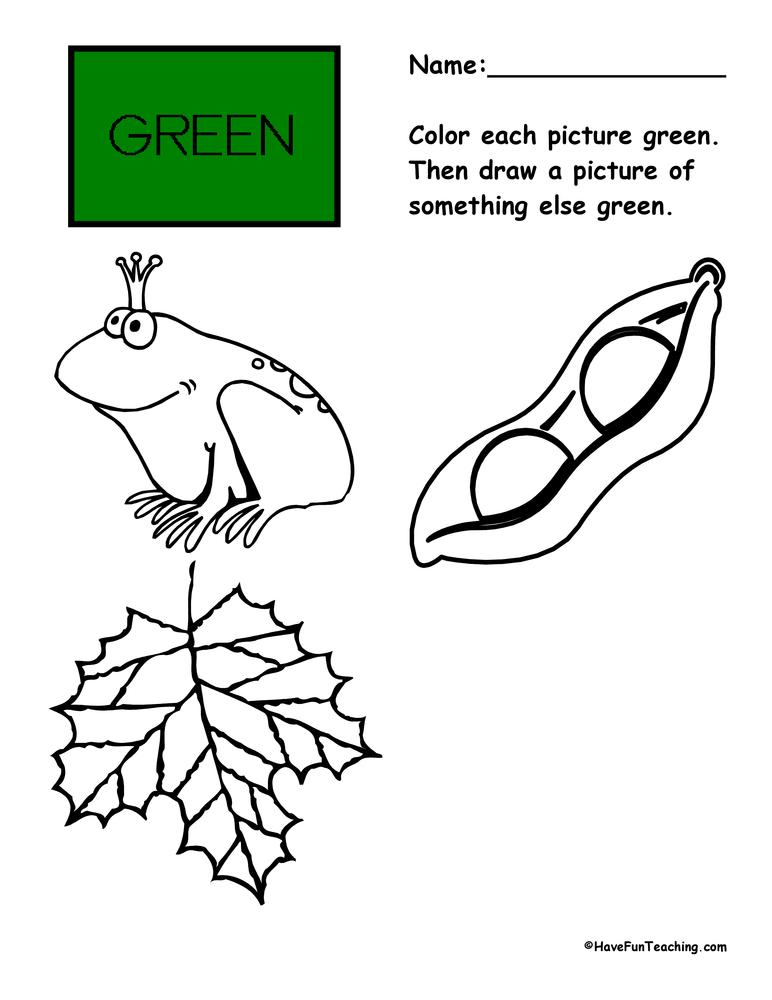 green worksheet have fun teaching. Black Bedroom Furniture Sets. Home Design Ideas