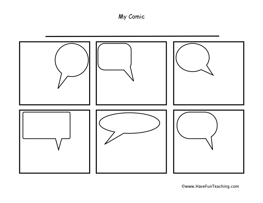 Speech Bubbles Comic Strip Worksheet
