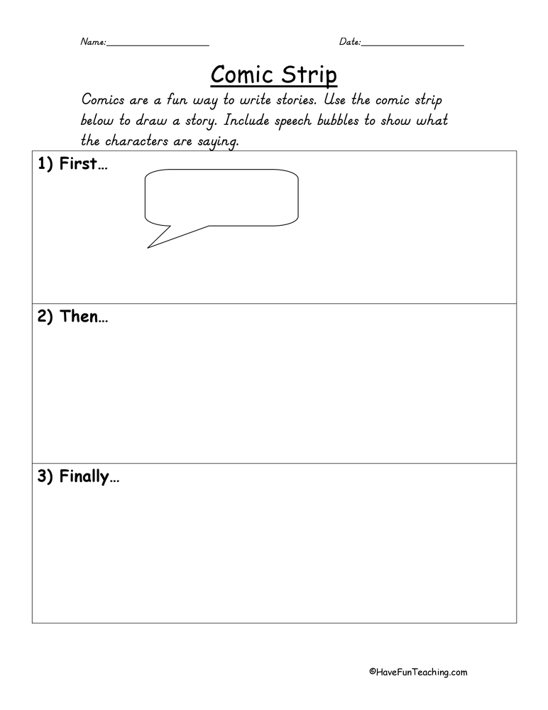 Create Your Own Comic Worksheet – Comic Strip Worksheet