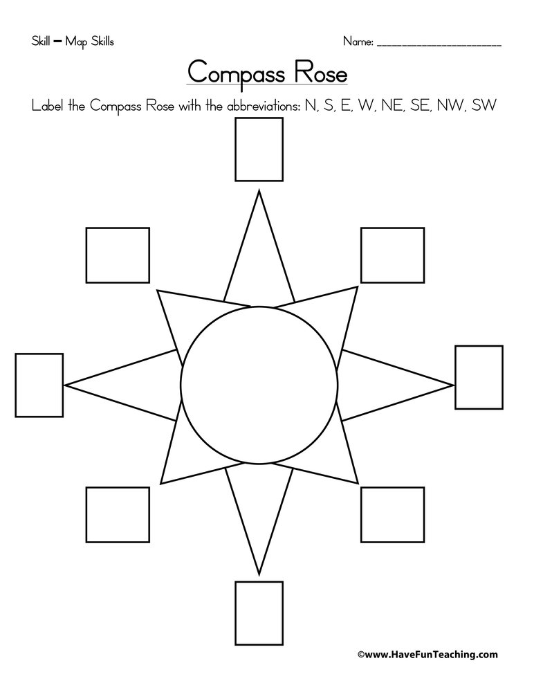 Printables Compass Rose Worksheets compass rose worksheet have fun teaching worksheet
