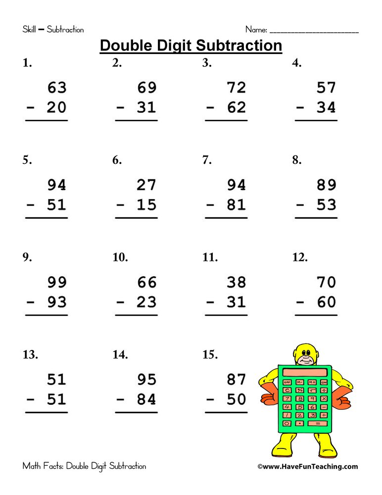 Worksheets Two Digit Subtraction Without Regrouping Worksheets double digit subtraction worksheet have fun teaching worksheet