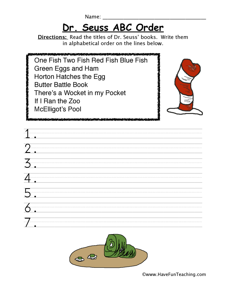 Dr Seuss Books Alphabetical Order Worksheet