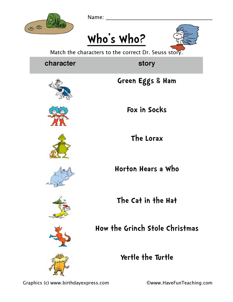 Dr. Seuss Worksheets - Page 2 of 3 - Have Fun Teaching