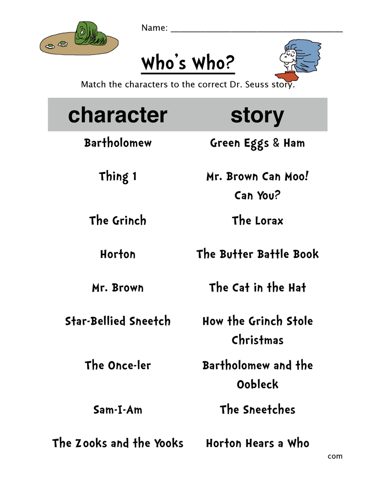 Dr Seuss Matching Worksheet