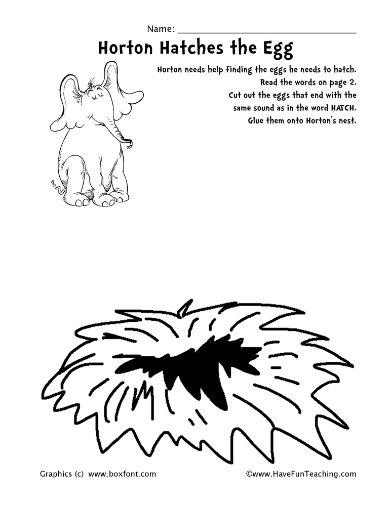Dr. Seuss Word Family Worksheet - TCH words