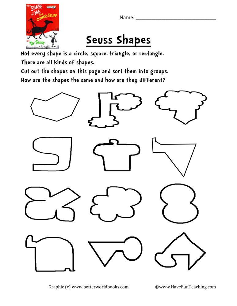 Dr. Seuss Shapes Worksheet • Have Fun Teaching
