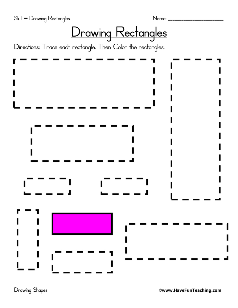 rectangles worksheet drawing rectangles worksheet trace each rectangle ...