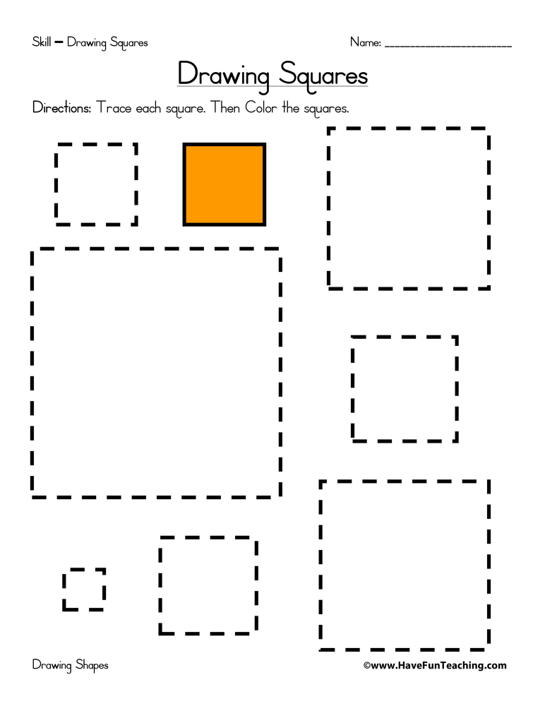 Drawing Squares Worksheet | Have Fun Teaching