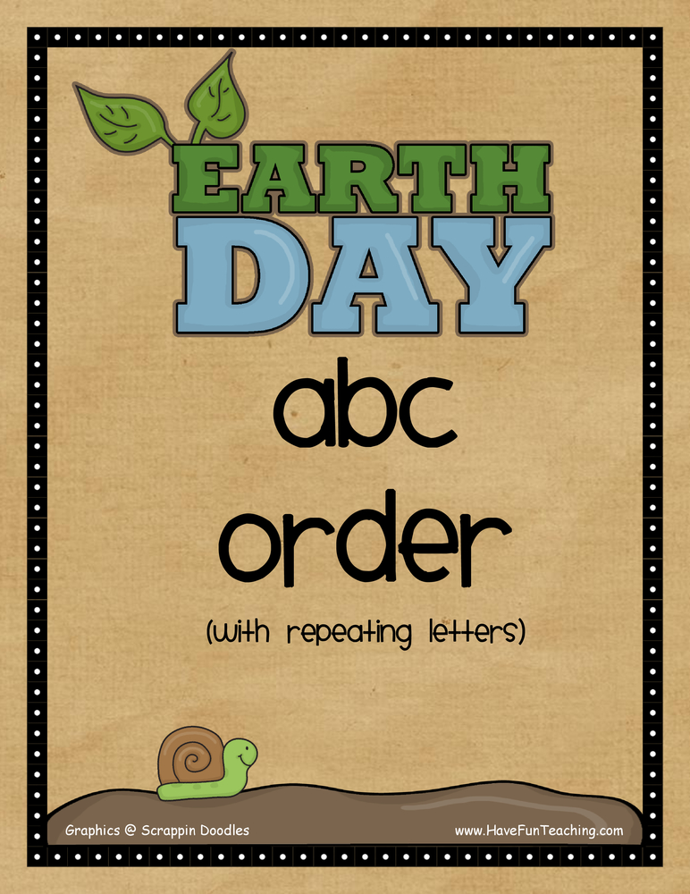 Earth Day Hard Alphabetical Order Activity