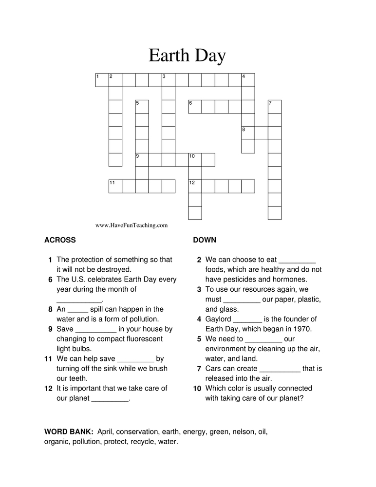 Crossword Puzzles Have Fun Teaching. Earth Day Crossword Puzzle. Worksheet. Energy Vocab Worksheet At Mspartners.co