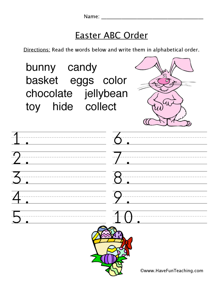 Aldiablosus  Marvelous Easter Worksheets  Have Fun Teaching With Outstanding Easter Abc Order Worksheet With Endearing Cell Communication Worksheet Also Irs Ira Deduction Worksheet In Addition Karyotype Activity Worksheet And Th Grade Word Problems Worksheet As Well As Writing Numbers  Worksheet Additionally Area Of Rectangles Worksheets From Havefunteachingcom With Aldiablosus  Outstanding Easter Worksheets  Have Fun Teaching With Endearing Easter Abc Order Worksheet And Marvelous Cell Communication Worksheet Also Irs Ira Deduction Worksheet In Addition Karyotype Activity Worksheet From Havefunteachingcom