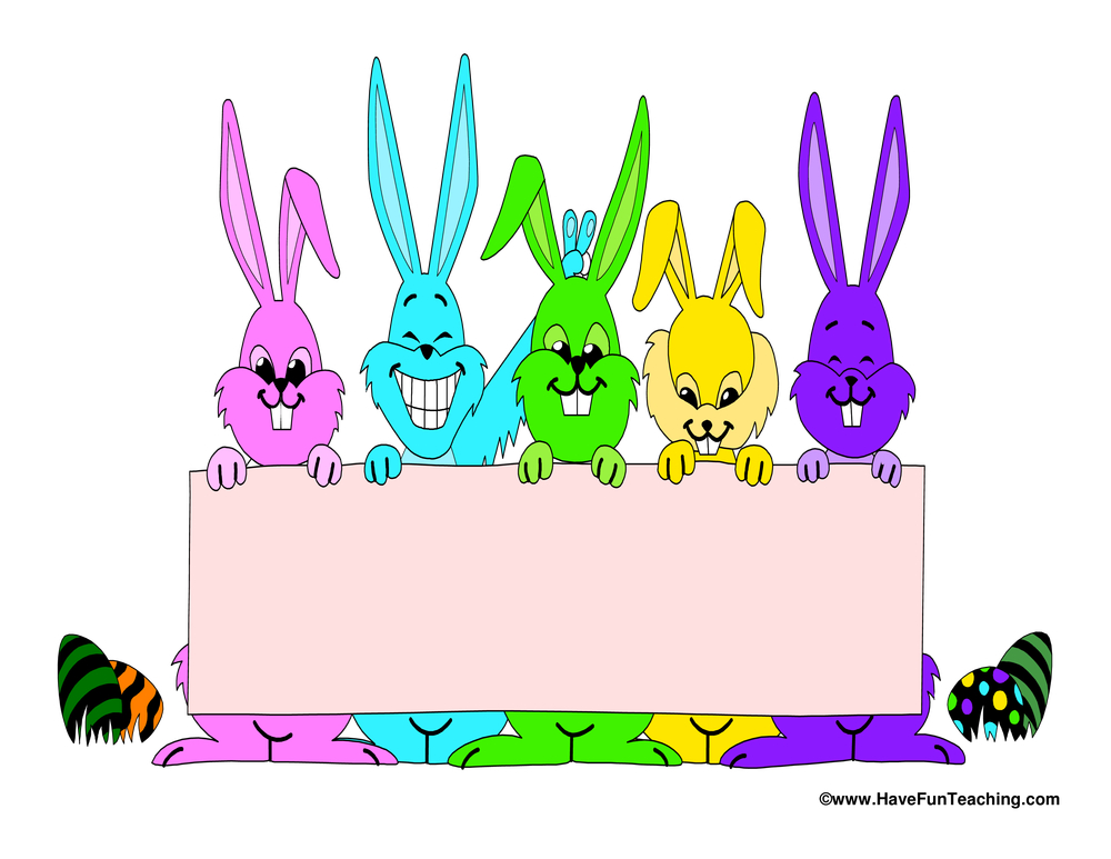 Easter Colorful Rabbits Writing Paper