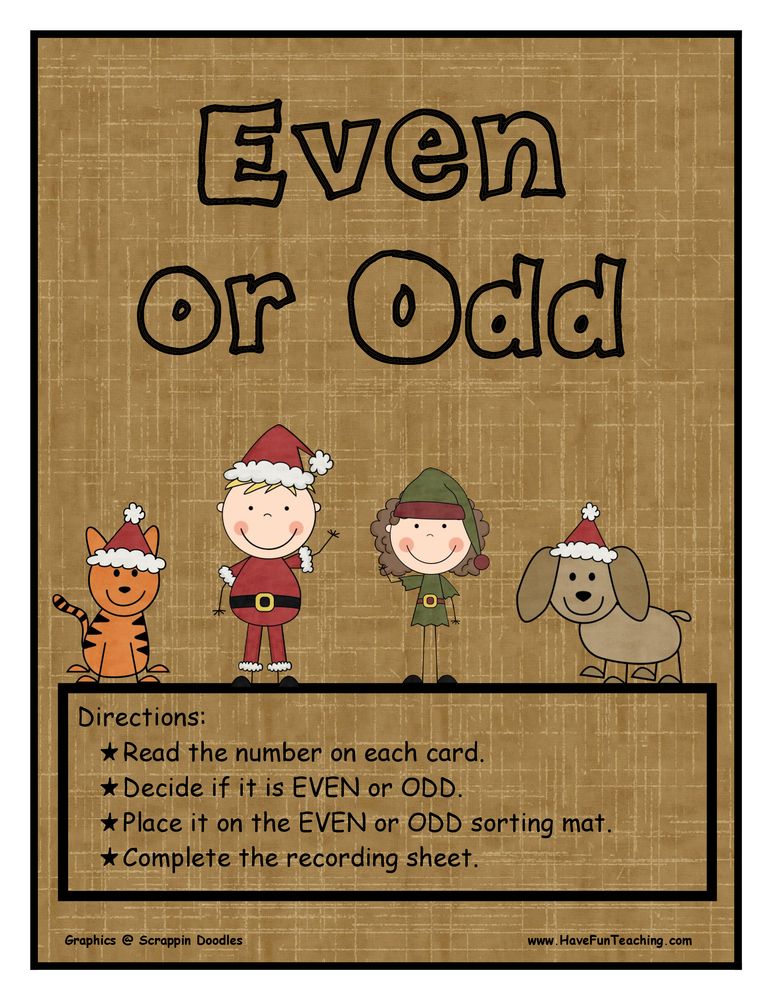 Even Or Odd Christmas Activity