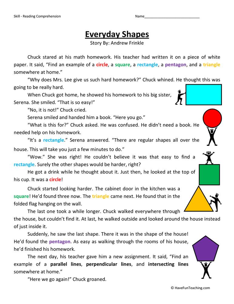 Everyday Shapes Reading Comprehension Worksheet