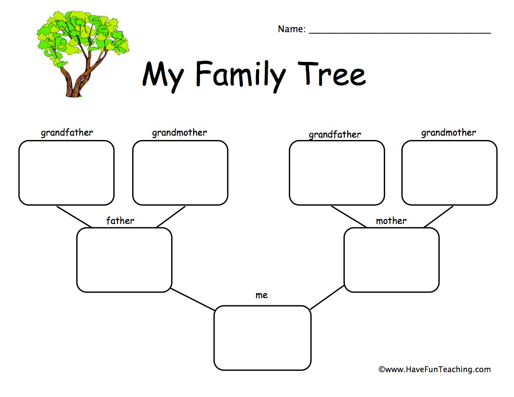 1 Child Family Tree Worksheet