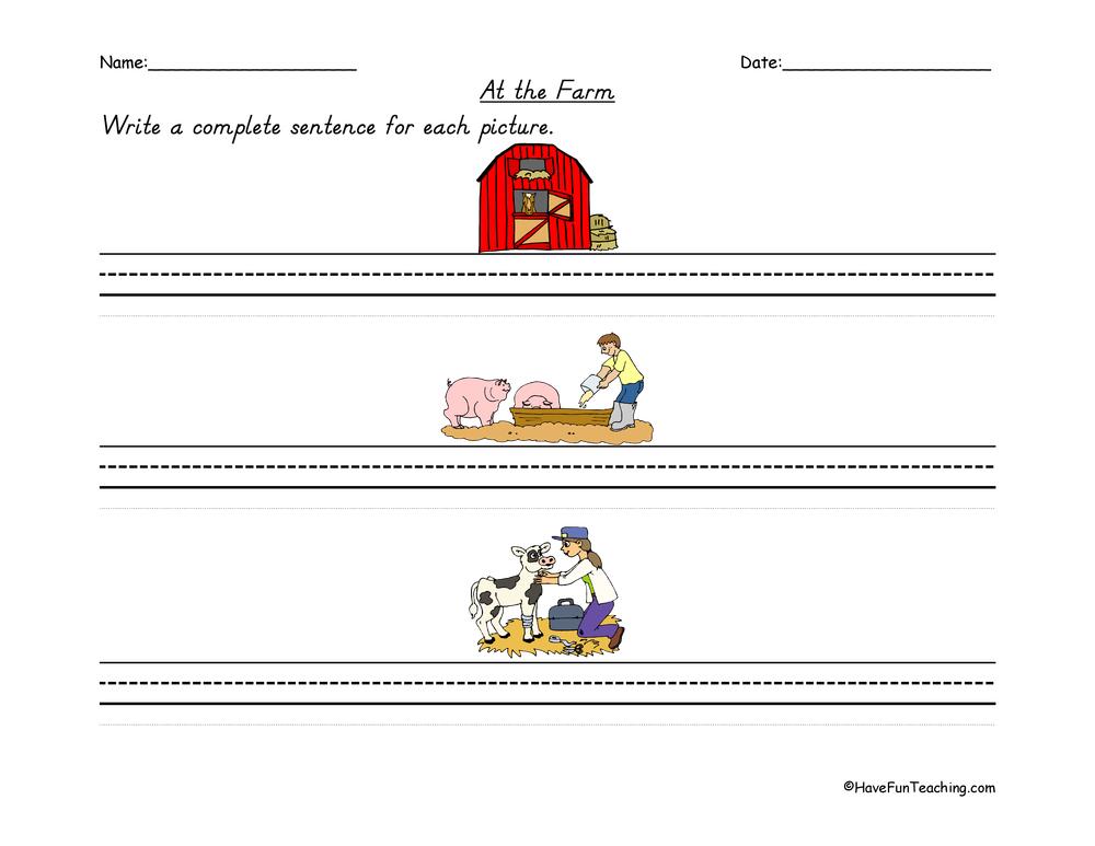 Farm Sentence Writing Worksheet