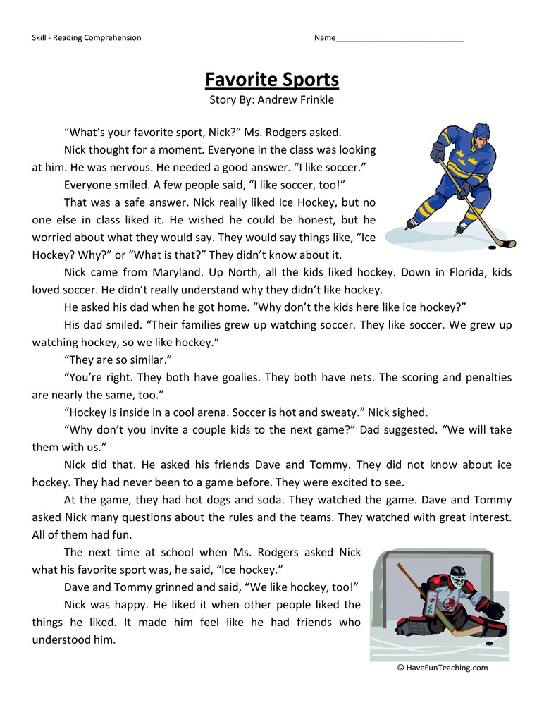favorite-sports-second-grade-reading-comprehension-worksheet