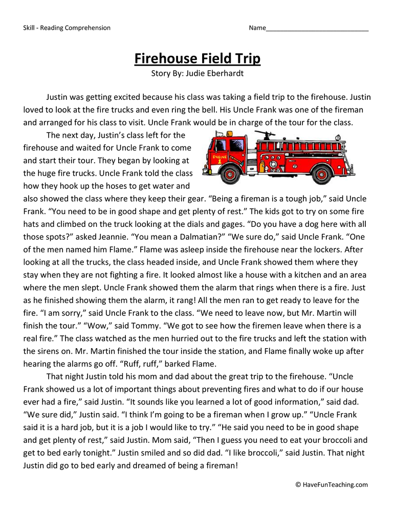 Firehouse Field Trip - Reading Comprehension Worksheet