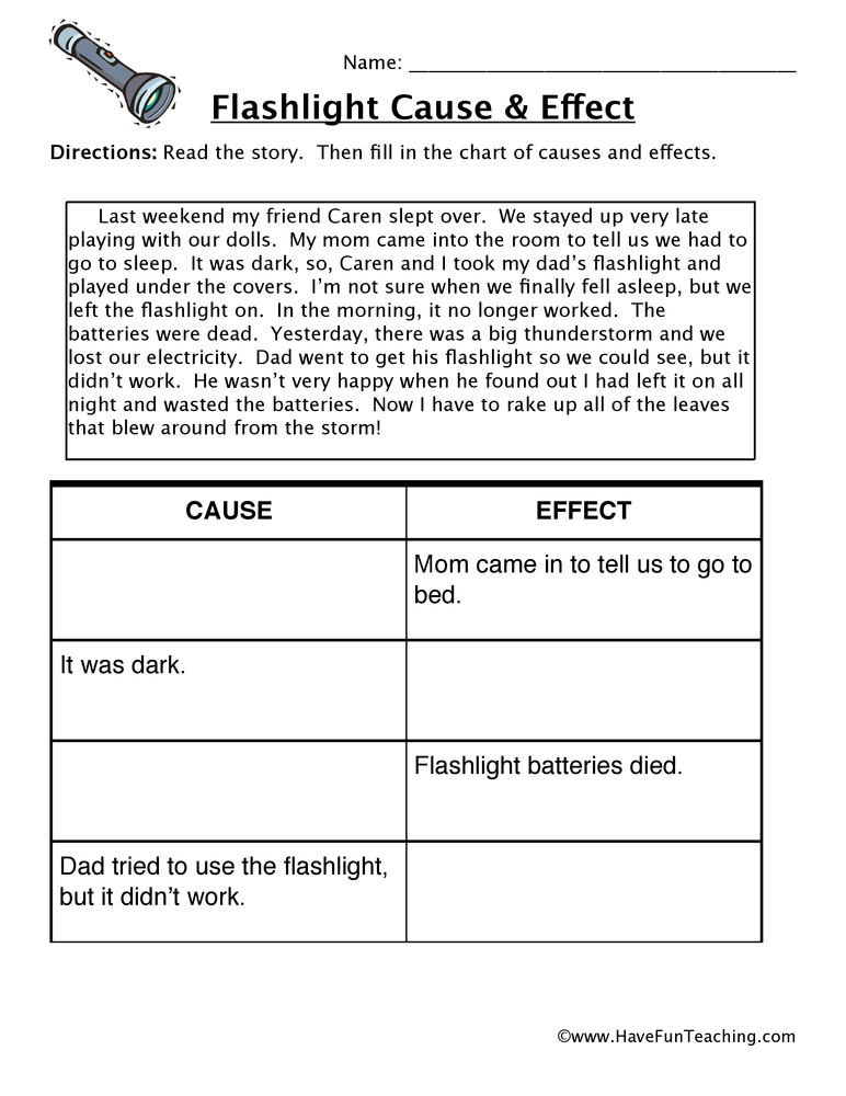 Flashlight Cause And Effect Worksheet