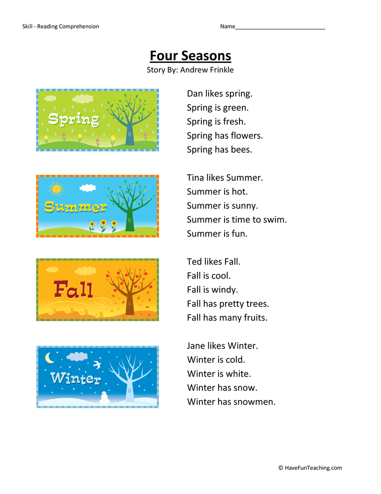 Four Seasons Reading Prehension Worksheet. Four Seasons Reading Prehension Worksheet. First Grade. Bee Worksheets For First Grade At Mspartners.co