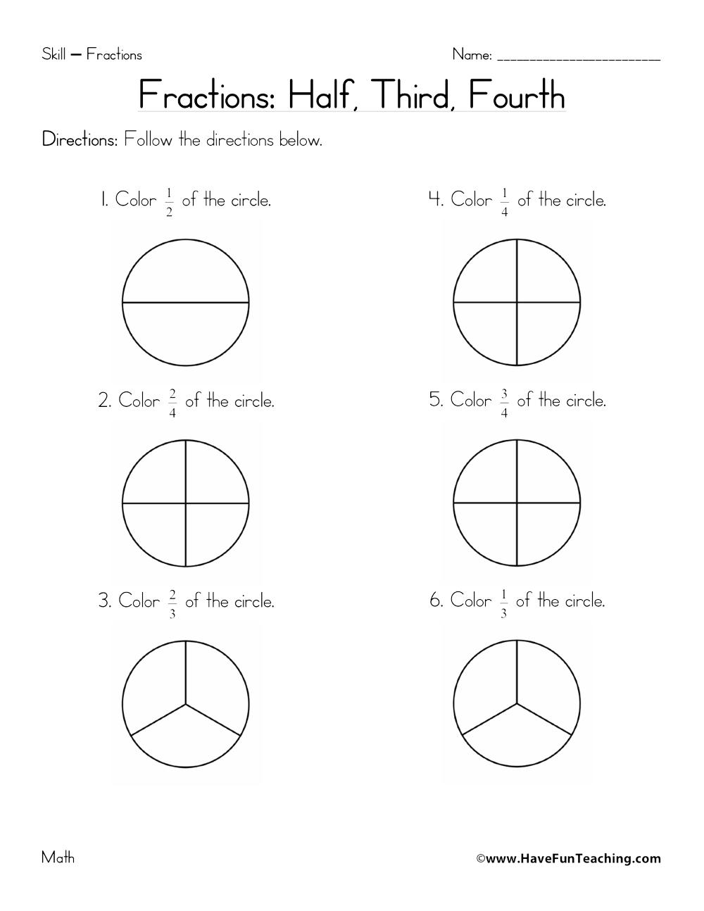 Fractions Worksheet - Halves, Thirds, Fourths - Have Fun ...