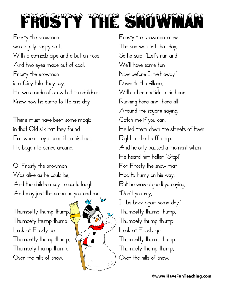 graphic regarding Frosty the Snowman Lyrics Printable identified as Frosty the Snowman Lyrics Incorporate Pleasurable Coaching