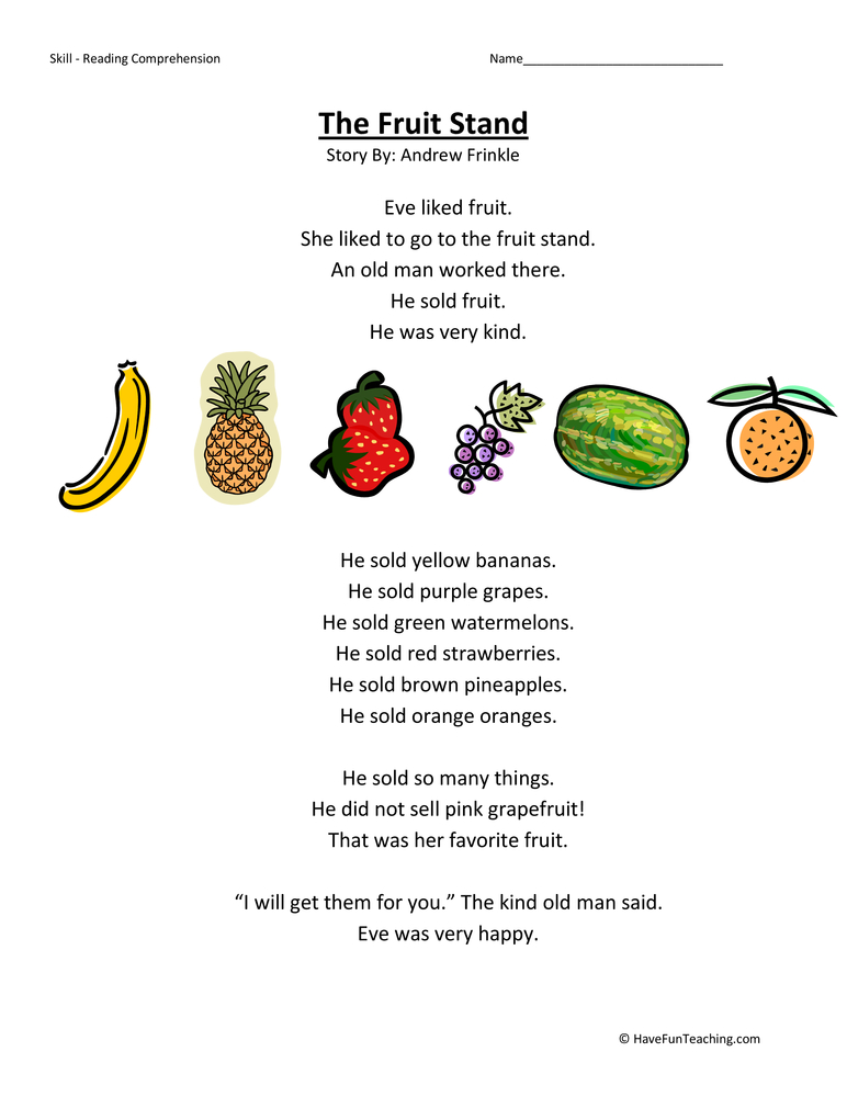 First Grade Reading Comprehension Worksheet Fruit Stand – Reading a Recipe Worksheet