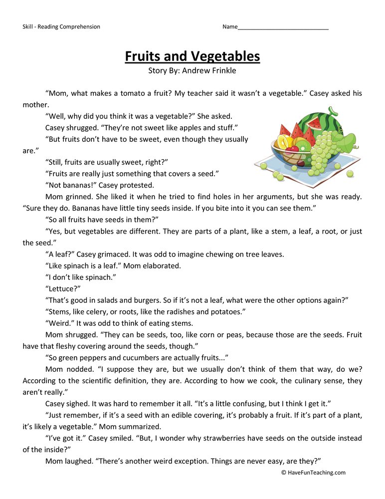 fruits-and-vegetables-fourth-grade-reading-comprehension-worksheet