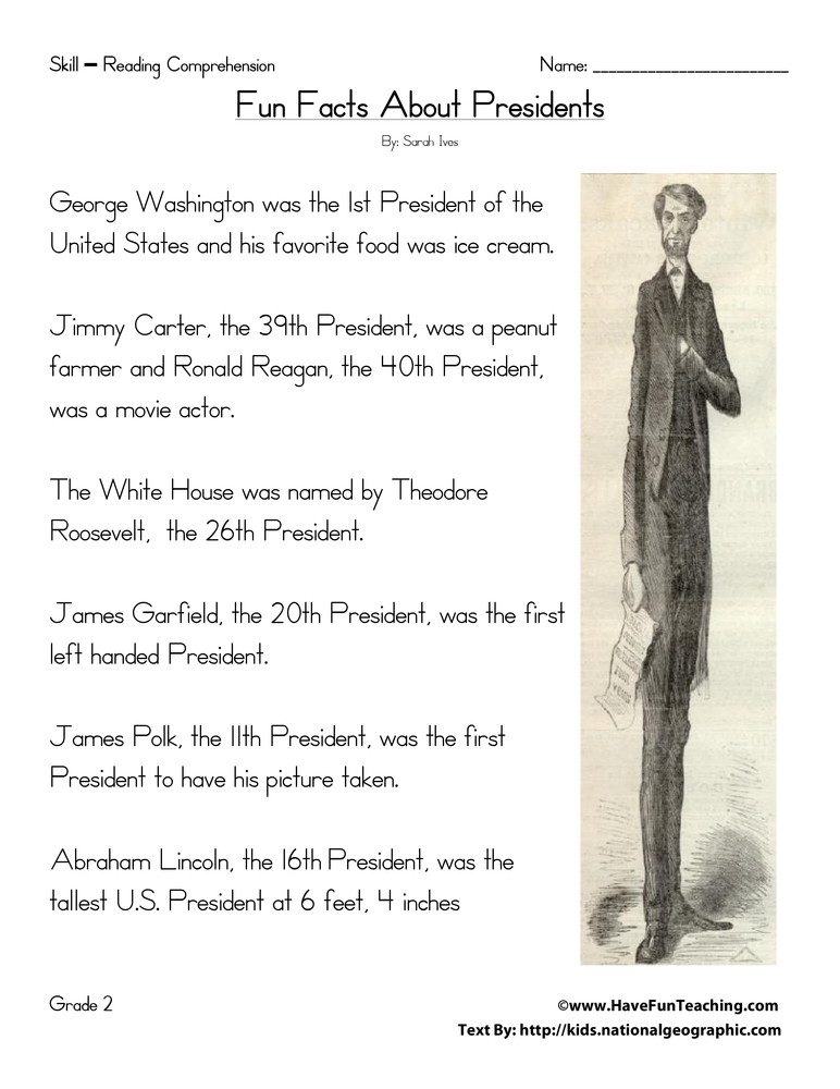 Second Grade Reading Comprehension Worksheet Fun Facts About – Presidents Worksheets