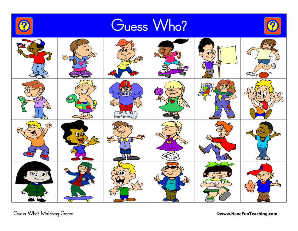Guess Who Matching Game Activity
