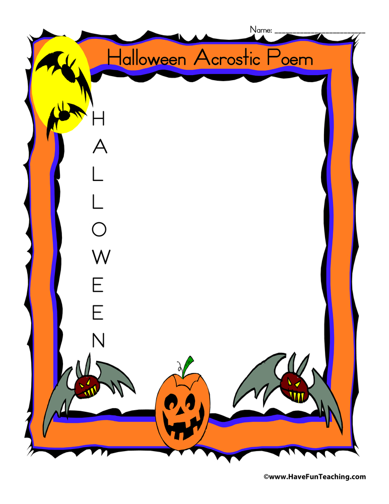 Halloween Acrostic Poem Worksheet Have Fun Teaching