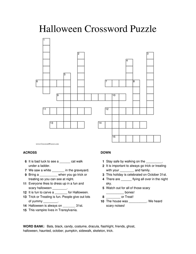 photograph about 4th Grade Crossword Puzzles Printable referred to as Halloween Crossword Puzzle Worksheet Include Pleasurable Schooling