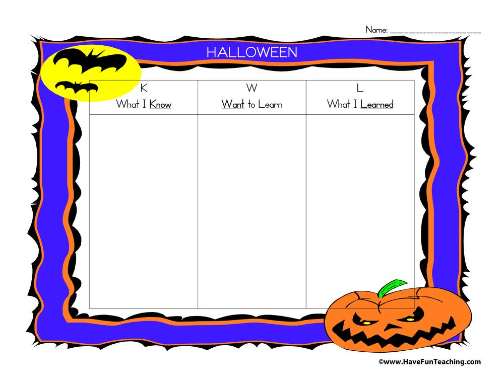 Halloween Kwl Graphic Organizer: Fun Halloween Art Worksheets At Alzheimers-prions.com