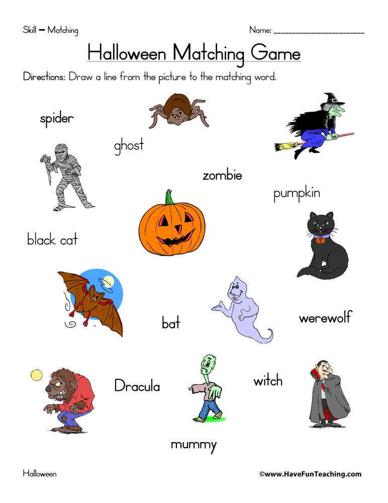halloween-matching-worksheet