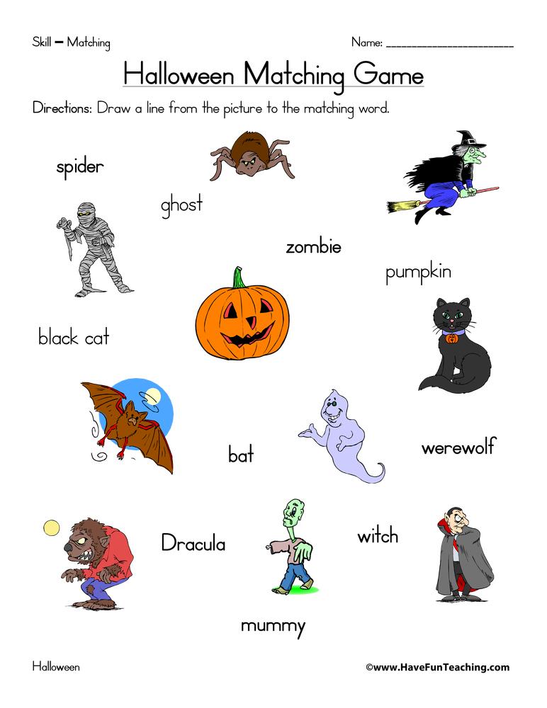 Printable Worksheets halloween esl worksheets : Halloween Matching Worksheet | Have Fun Teaching