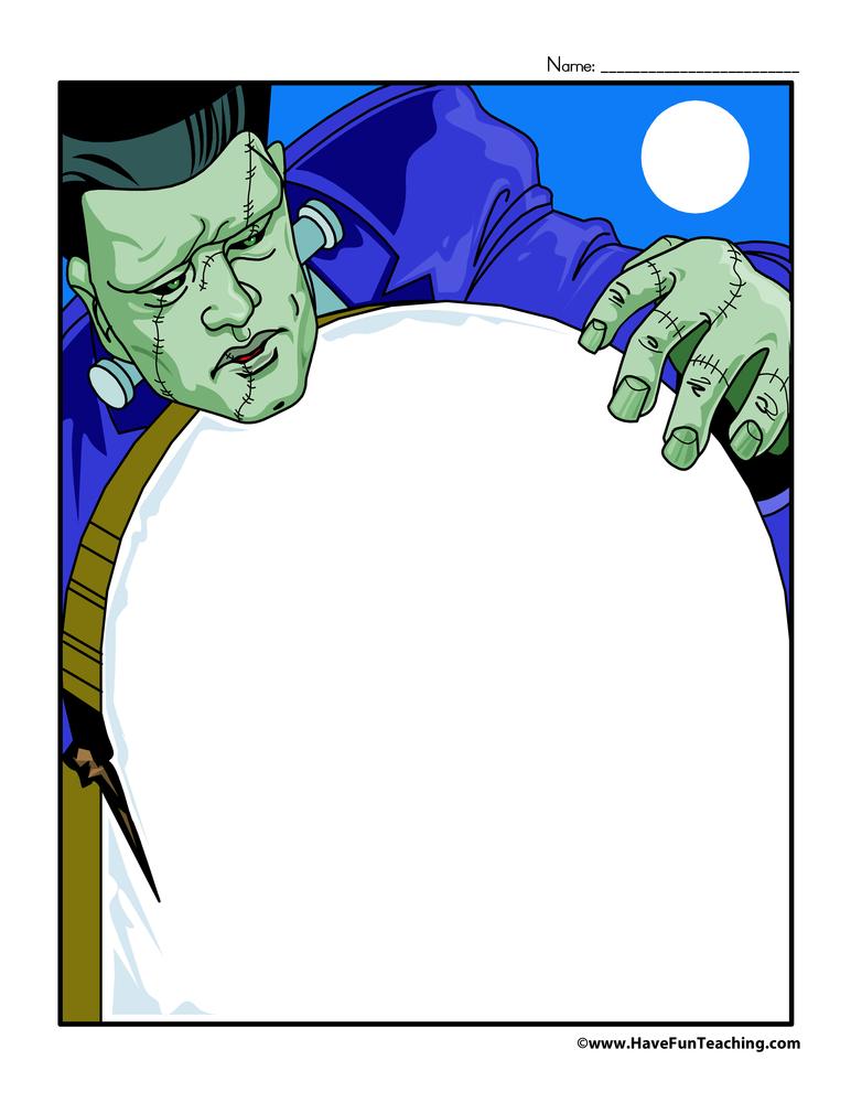 Halloween Writing Paper - Frankenstein