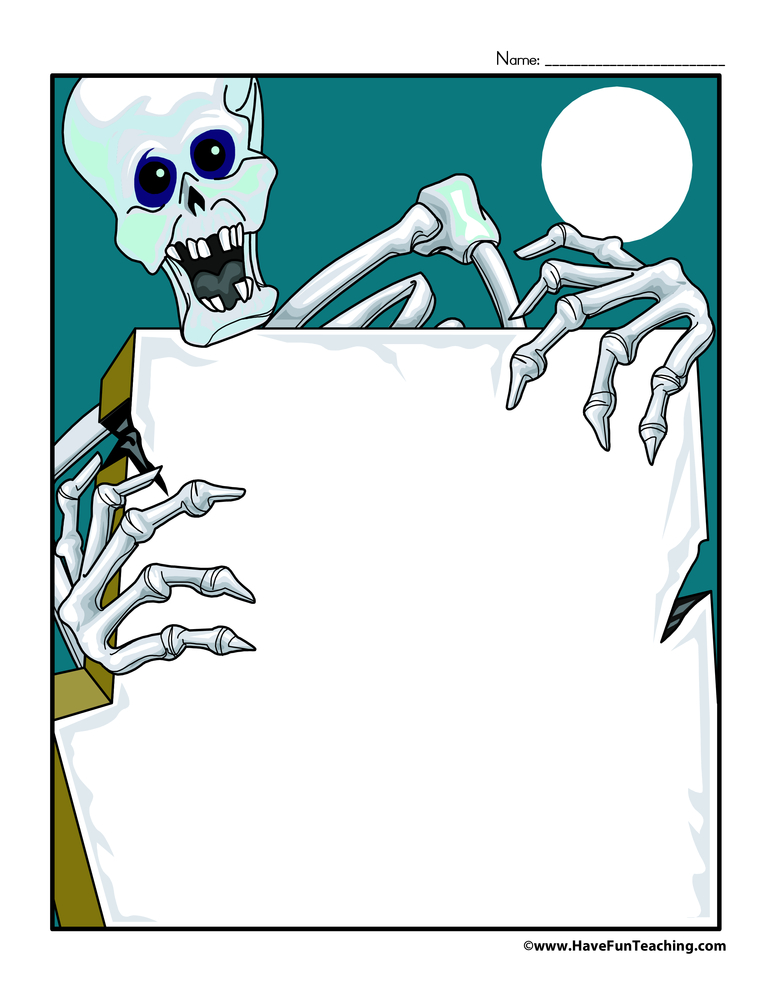 Halloween Writing Paper - Skeleton