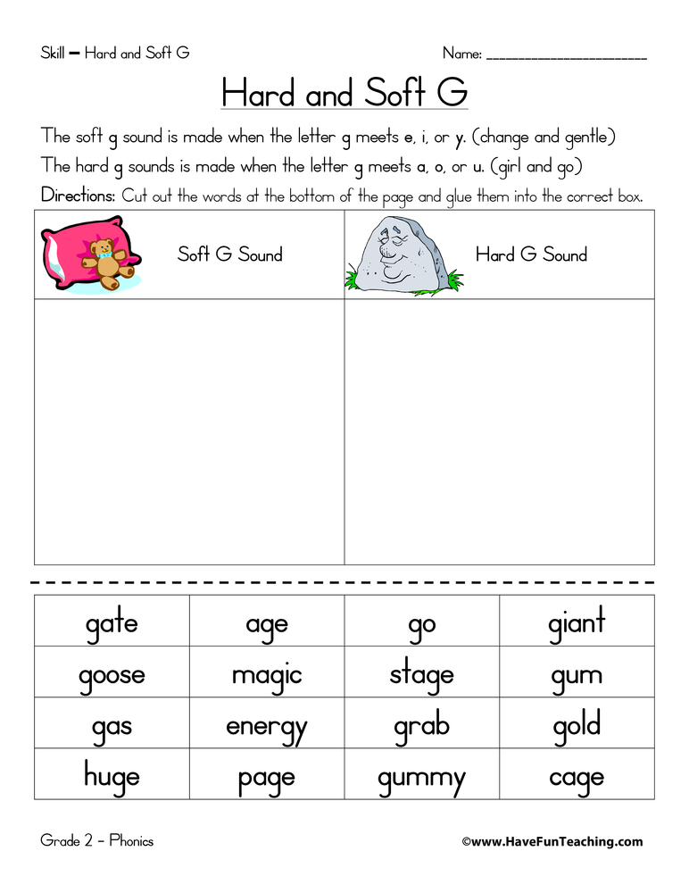 Hard G and Soft G Worksheet - Have Fun Teaching