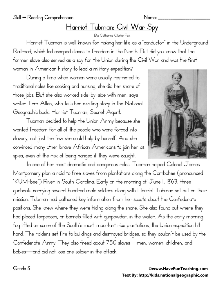 Harriet Tubman Civil War Spy Reading Prehension Worksheet. Harriet Tubman Civil War Spy Reading Prehension Worksheet. Worksheet. Harriet Tubman Worksheets At Mspartners.co