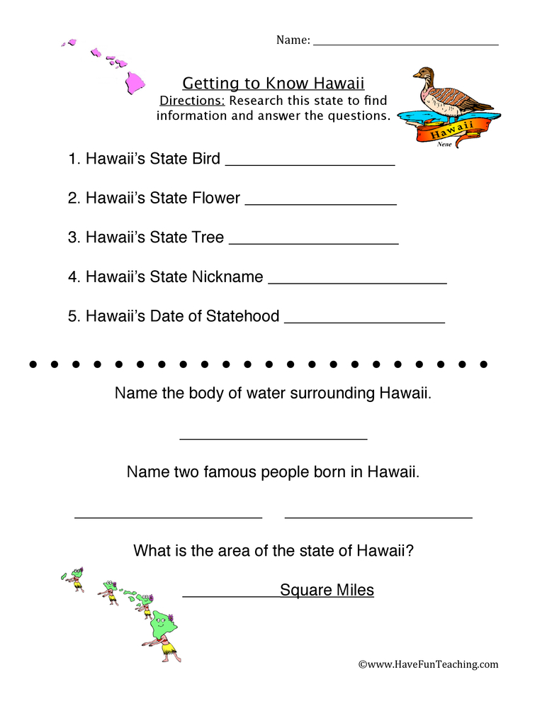 hawaii worksheets have fun teaching. Black Bedroom Furniture Sets. Home Design Ideas