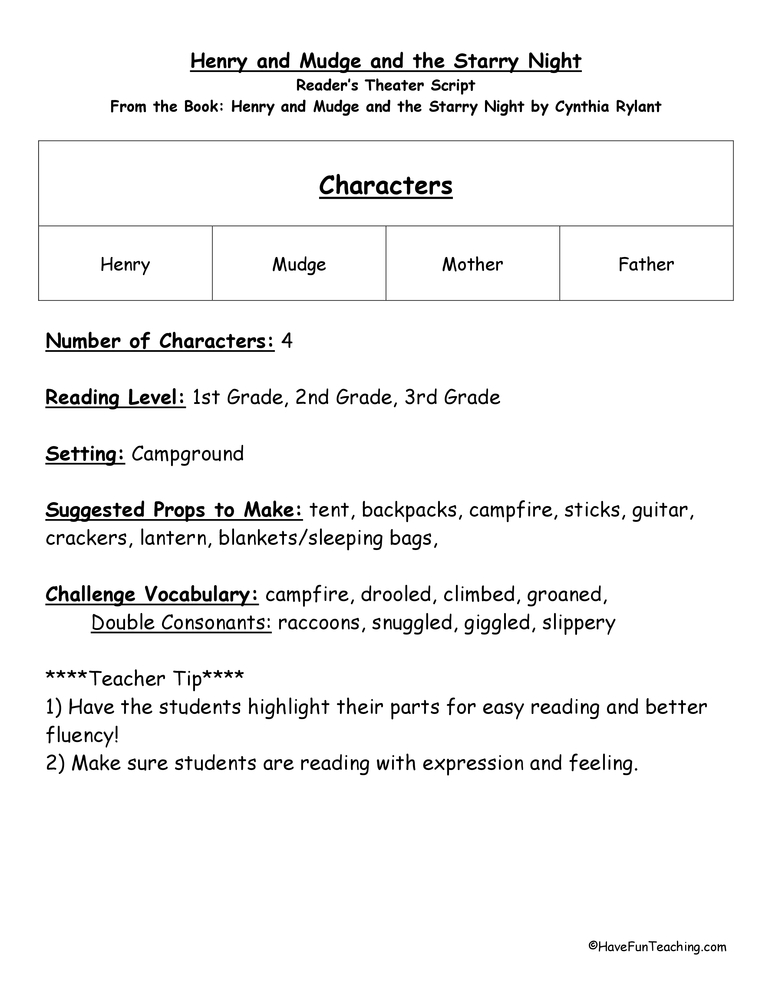 Printable Worksheets drama vocabulary worksheets : Reader's Theater Worksheets   Have Fun Teaching
