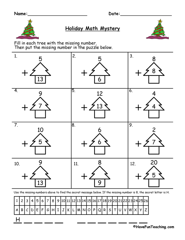 math worksheet : christmas addition worksheet  have fun teaching : Free Math Christmas Worksheets