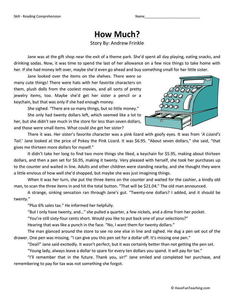 How Much? Reading Comprehension Worksheet