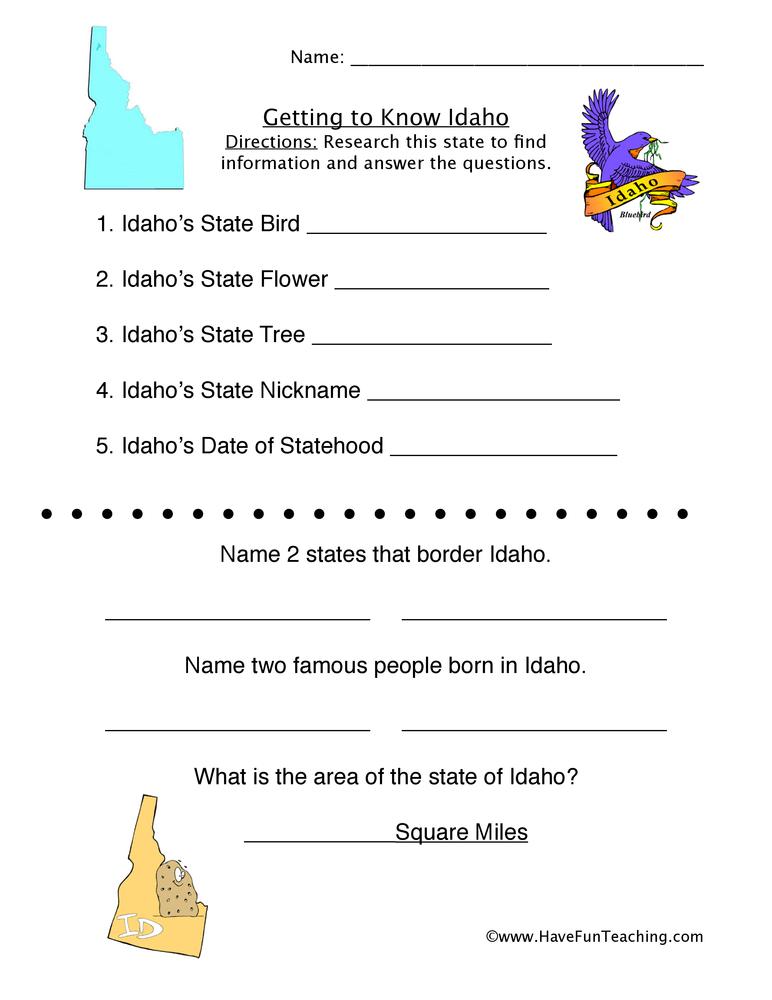 Idaho Worksheet